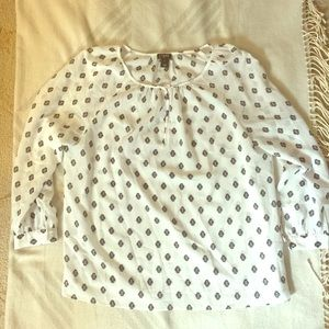 J Crew Factory White Patterned Blouse