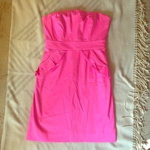 J Crew Factory Strapless Peplum Dress with Pockets