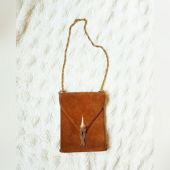 Vintage Handbags - Vintage Suede Purse with Chain Strap