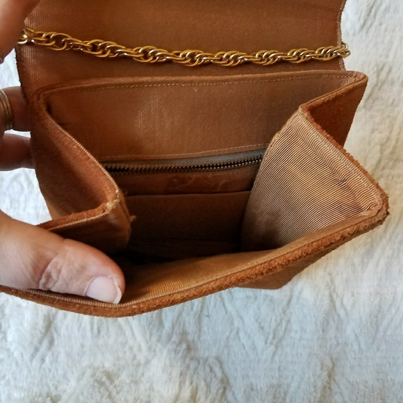Vintage Bags - Vintage Suede Purse with Chain Strap