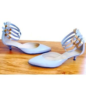 AGL Blue Patent Leather D'Orsay Kitten Heel Pumps