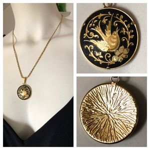 Vintage Jewelry - Vintage DAMASCENE Pendant Necklace