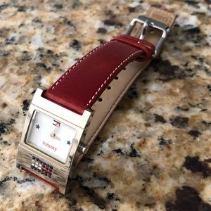 Tommy Hilfiger Silver Genuine Red Leather Watch