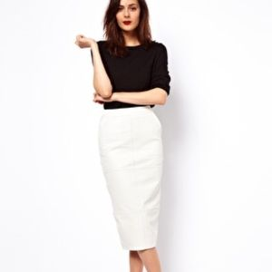 ASOS White Leather Pencil Skirt Midi with Pockets