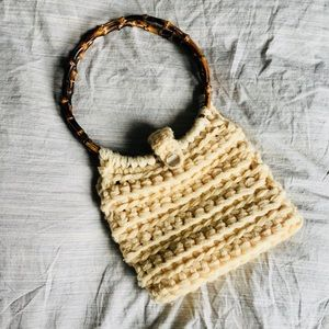 VINTAGE adorable wool purse with bamboo handle
