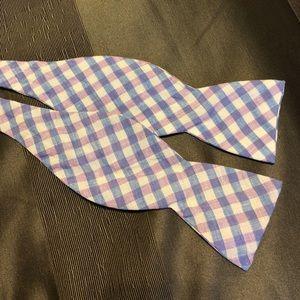 Vineyard Vines Purple & Blue Check Linen Bow Tie