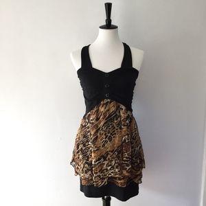 Cheetah & black button cute/sexy mini dress