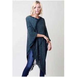 Sweaters - Hunter Green Fringed Poncho