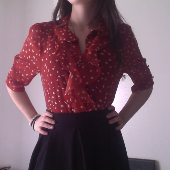 Vintage Tops - Heart Print Valentine's Day Ruffle Front Blouse