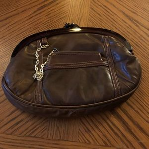 Vintage Brown Leather Lucite Clutch & Coin Purse