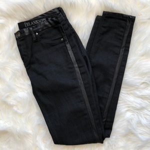 BlankNYC Black Faux Leather Strip Moto Jeans