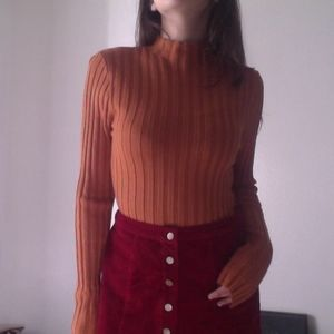 70s Burnt Orange Long Sleeve Sweater