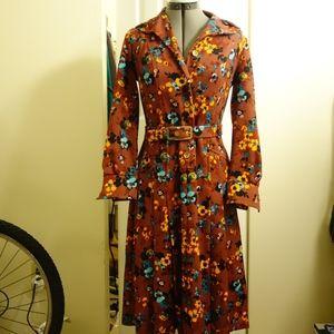 Vintage Dresses - VINTAGE Floral self-belt button-up dress