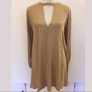 Lush tan choker collar v neck loose tunic dress