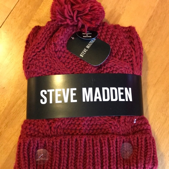 Steve Madden infinity scarf and Pom hat