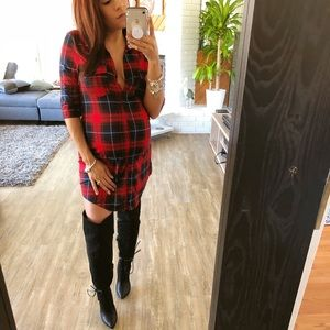 Dresses & Skirts - CLEARANCE♻️LAST 1❗️Red flannel tunic dress