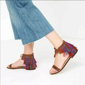 Zara fringed flat leather sandals