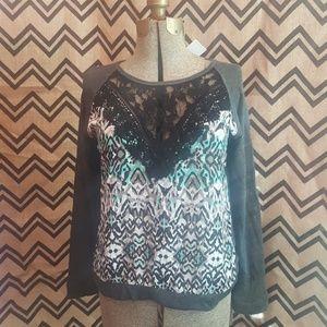 BNWT Vanity brand black and aqua printed  shirt L