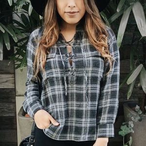 Madewell Tops - Grey and black plaid top