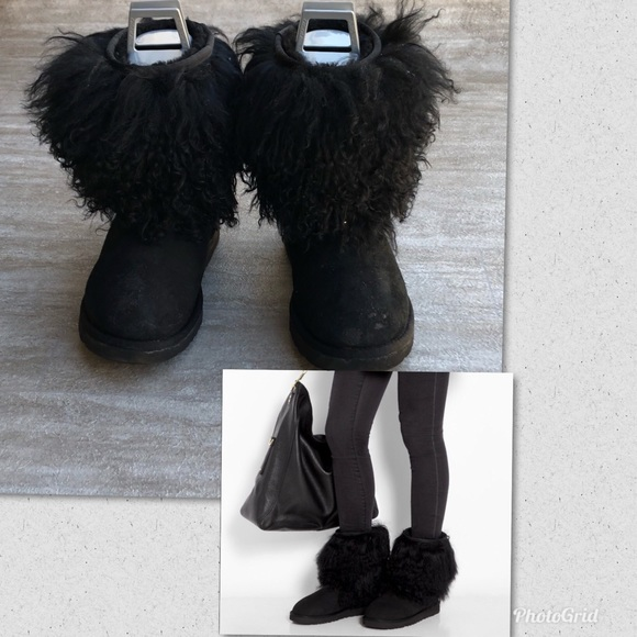 ugg shoes short sheepskin cuff boot black size 8 poshmark rh poshmark com
