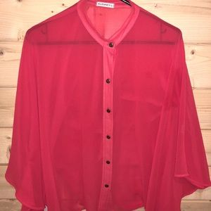 Audrey 3+1 Sheer Coral Batwing Blouse