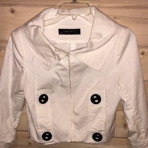 Zara Basic Cropped Cotton Blend Lined Jacket