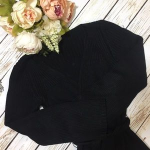 MaxStudio Black Belted Silk Cardigan (S)