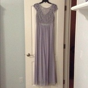 Dove Grey/ Silver Floor Length Lace Prom Gown