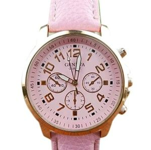 Pink Watch. Large Face,  Large faux leather band
