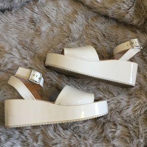 Zara Trafaluc White Platform Sandals - 38