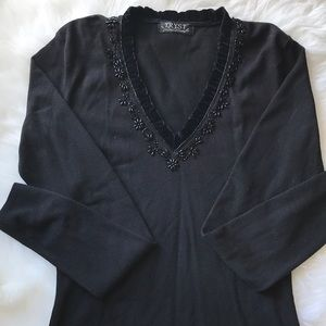 Black Embellished Long Sleeve Top