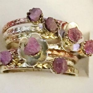 Jewelry - Pink Tourmaline Sterling Silver Two Tone Ring 8