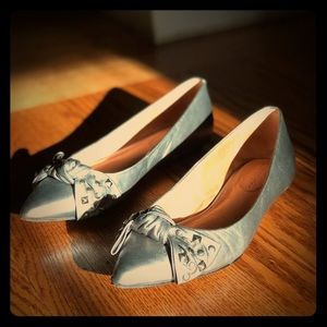 Silver leather flats