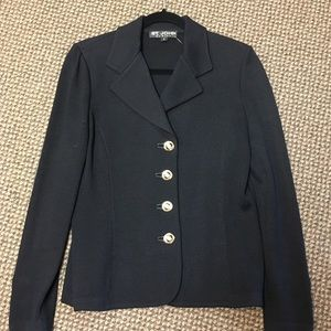 St. John Basics Size 6 Classic Black Knit Blazer