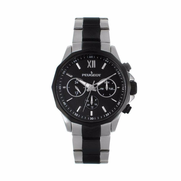 Peugeot Other - Peugeot Mens Black Stainless Steel Link Watch