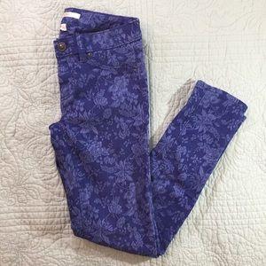 LC Lauren Conrad Blue Floral brocade Skinny Pants