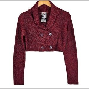 Sweaters - Red Paint Crop Cardigan L