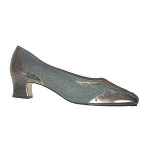 Vintage Denim & Silver Studded Block Heels 8
