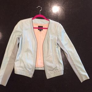 Trouvé Mint Leather Moto Jacket