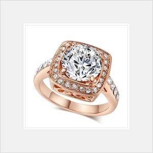 Jewelry - 18 Karat Rose Gold Plated Austrian Crystal Ring
