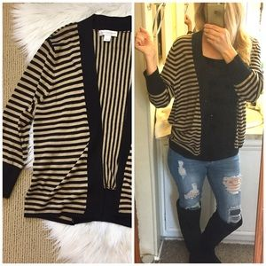 Christopher & Banks Striped Open Front Cardigan