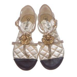 Authentic Chanel CC Camellia Multistrap Sandals