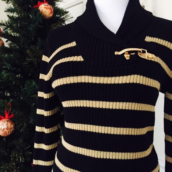 f3e6296ad Lauren Ralph Lauren Sweaters - RALPH LAUREN BLACK GOLD METALLIC STRIPE  SWEATER