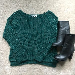 JLo Teal Sequins Sweater