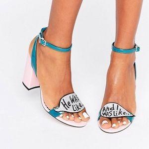 ASOS HARROW Slogan Glitter Heeled Sandals: 8