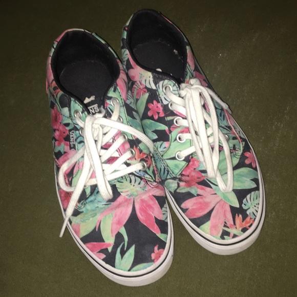 Vans Shoes | Floral Vans Pink Green And