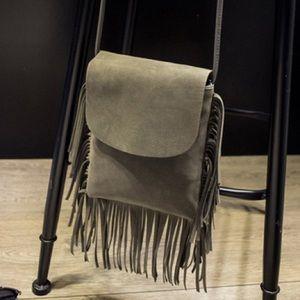 Handbags - Grey Suede Fringe Crossbody