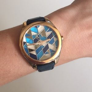 Mother of Pearl and Navy Armani Exchange watch