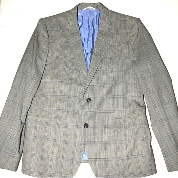 734a6349 Zara Suits & Blazers | Man Gray And Blue Plaid Suit Jacket Blazer 44 ...