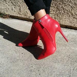 LAST PAIR!!//The Rebel// Red vegan leather bootie